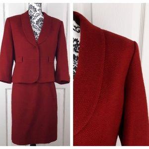 Tahari 2 pc. Skirt Suit Red Herringbone 12P